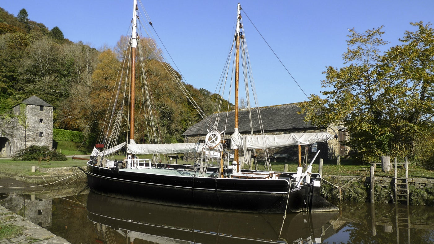 Shamrock Tamar sailing barge in her mooring at Cotehele Quay