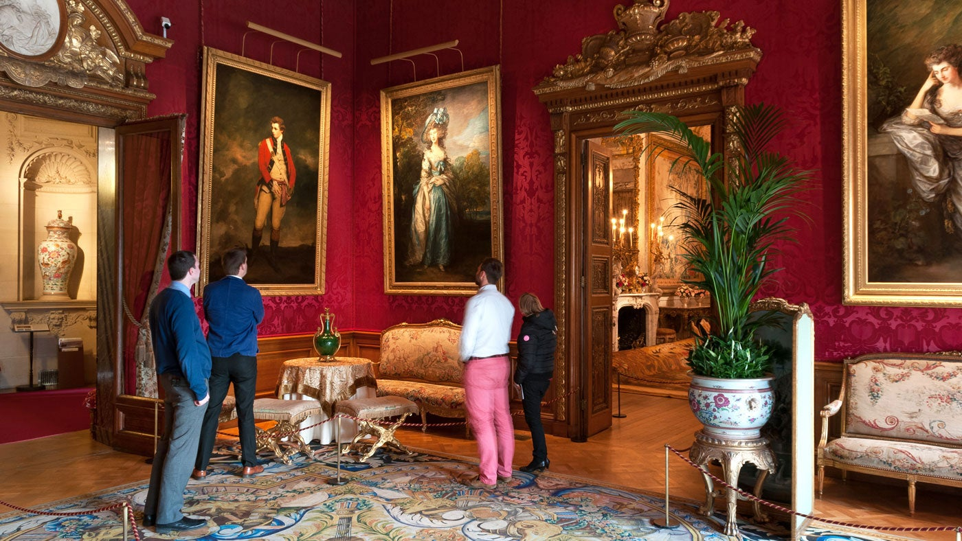Waddesdon Manor Red Drawing Room with visitors