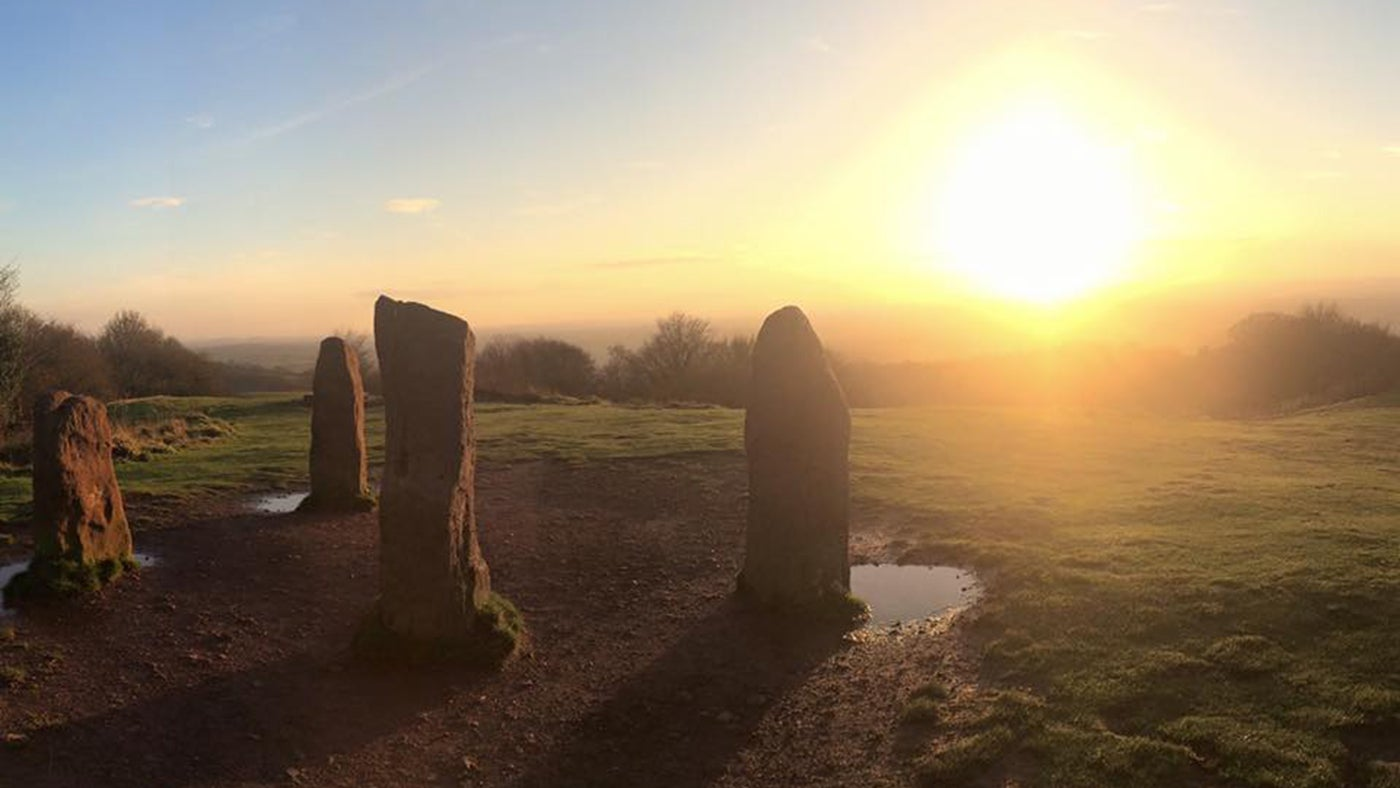 Sun over the Four Stones at Clent Hills