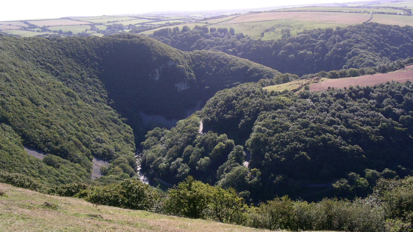 Views of open countryside across the Watersmeet valley
