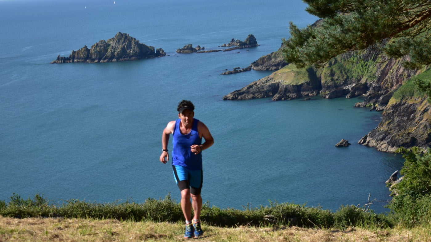 Runners in the English Riviera countryside