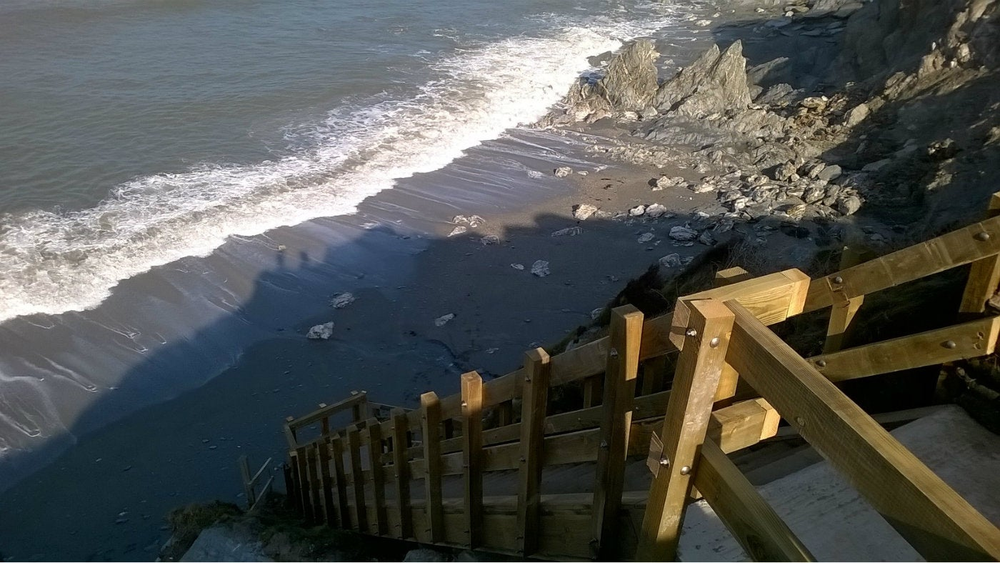New steps leading down to Rockham beach