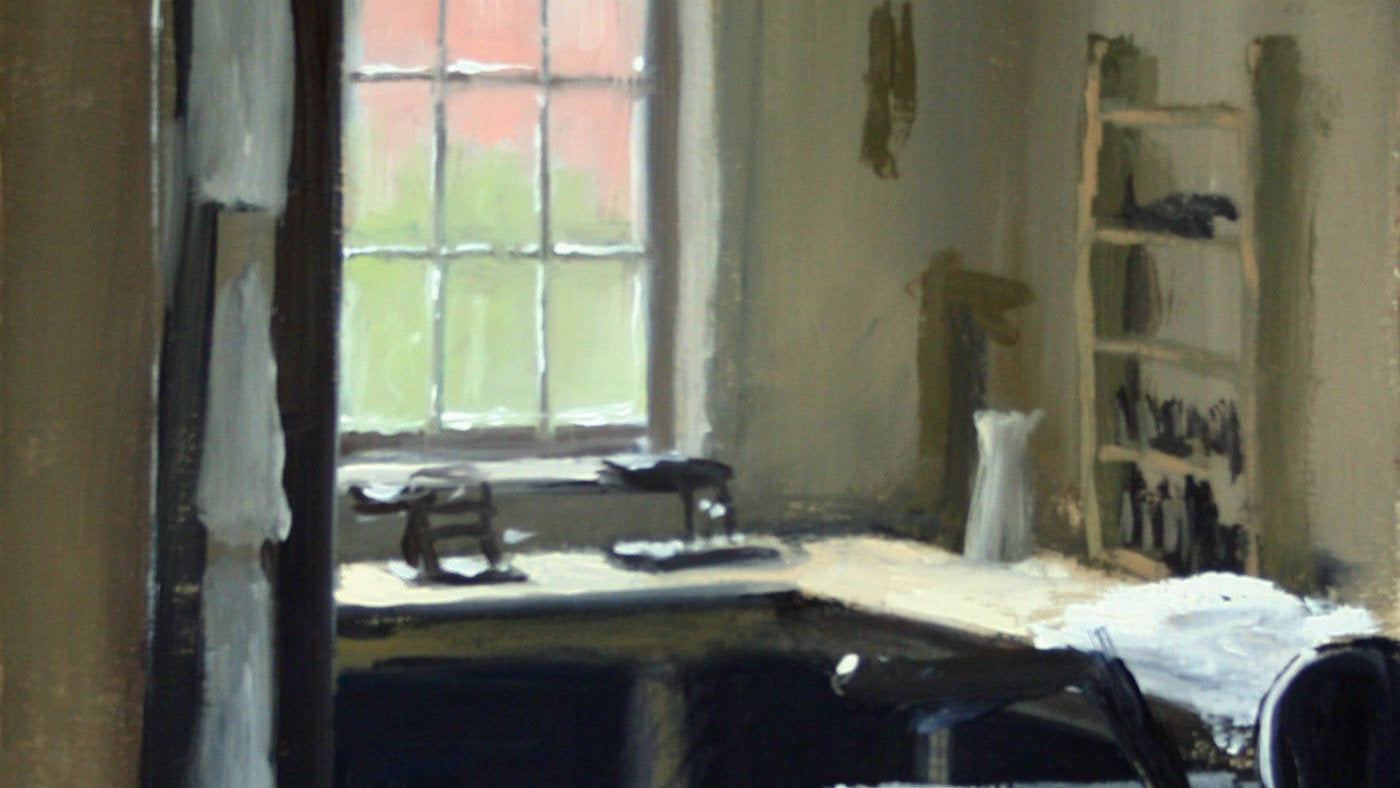 Erddig closer detail of Gouache on Board Laundry window painting by Matthew Wood