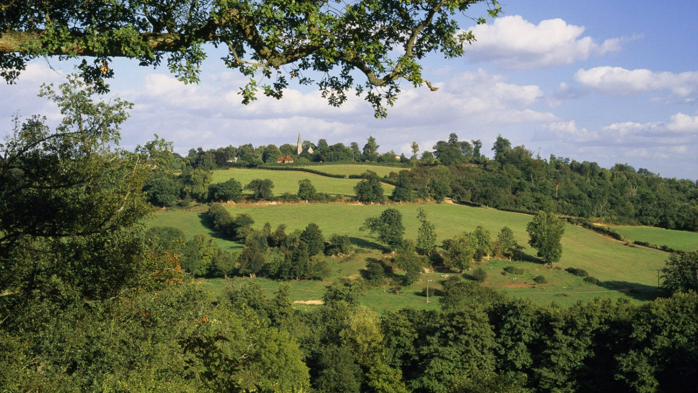 The view of Ide Hill from Toys Hill, a natural area owned by the National Trust in Kent