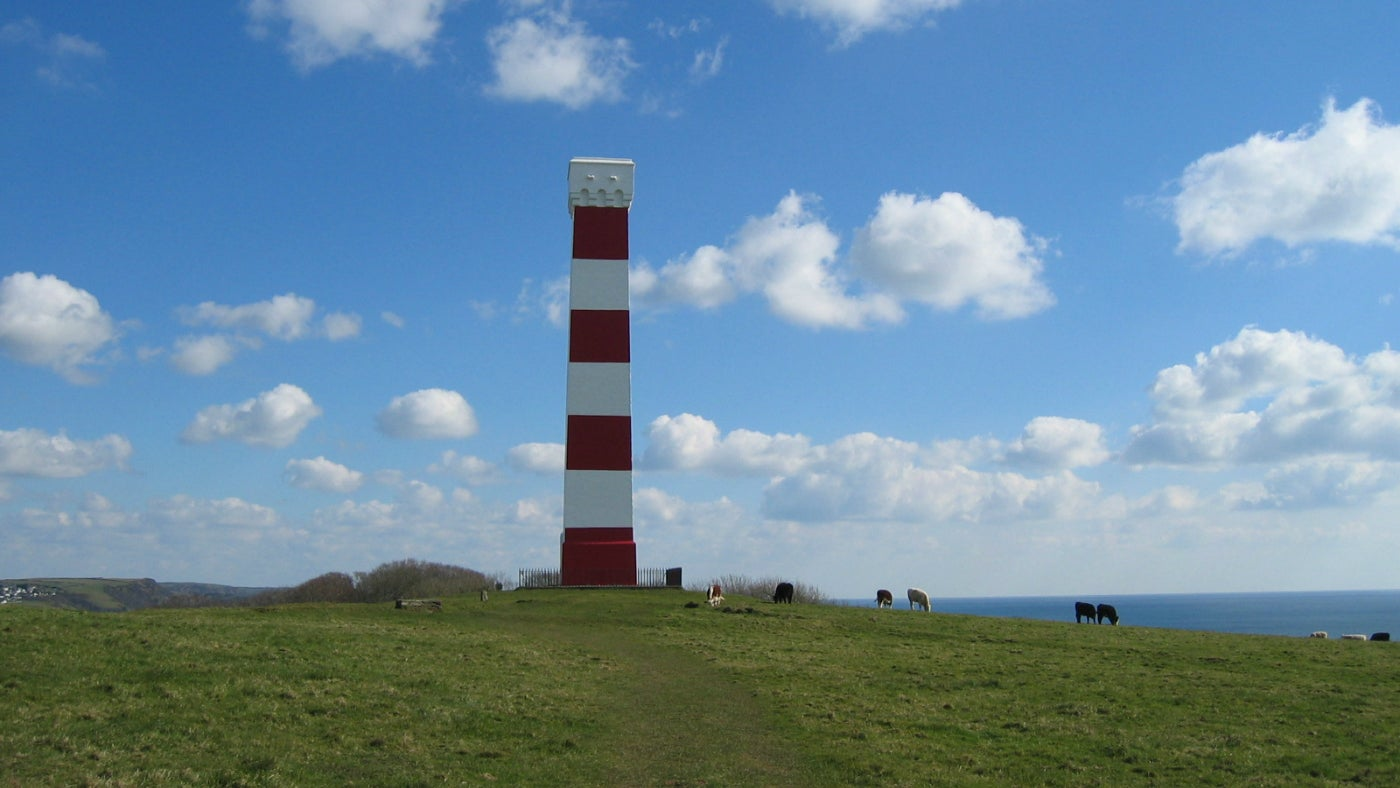 Fowey Gribbin Daymark Tower landscape with cows
