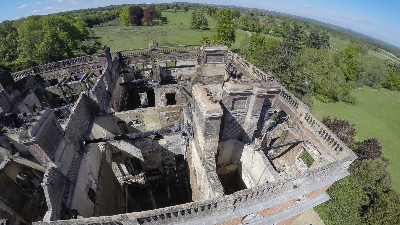A aerial view of Clandon Park following the fire