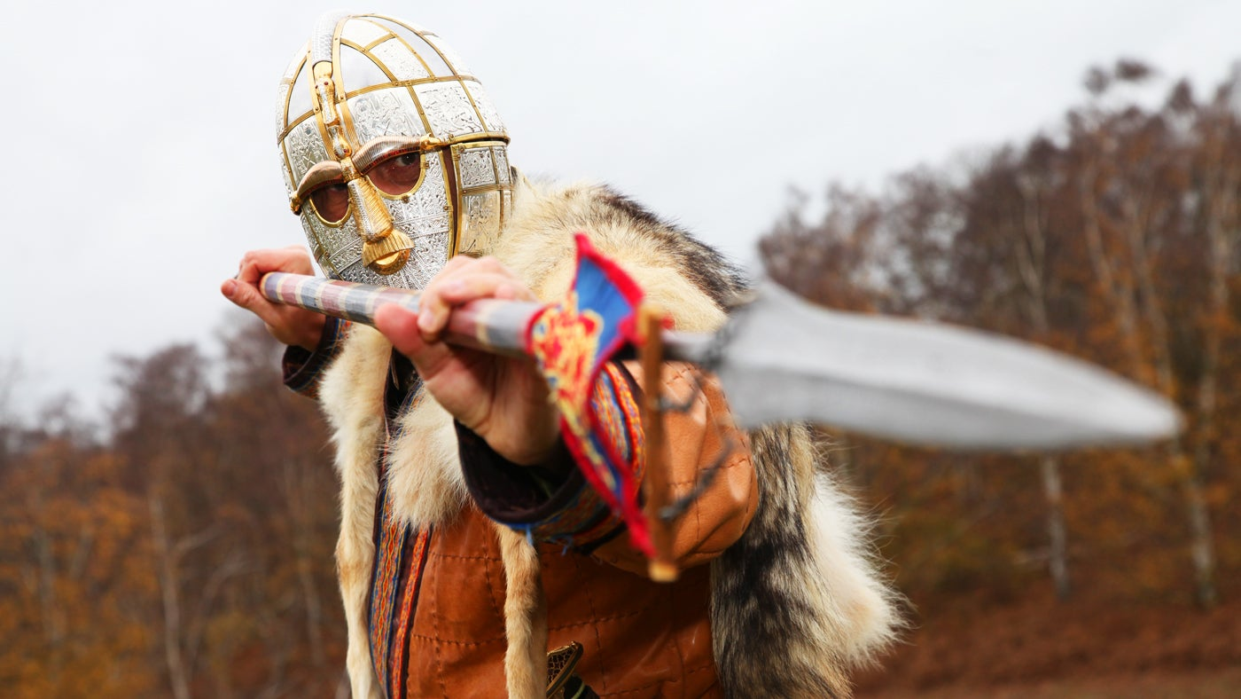 Anglo-Saxon King Raedwald brandishes his spear at Sutton Hoo