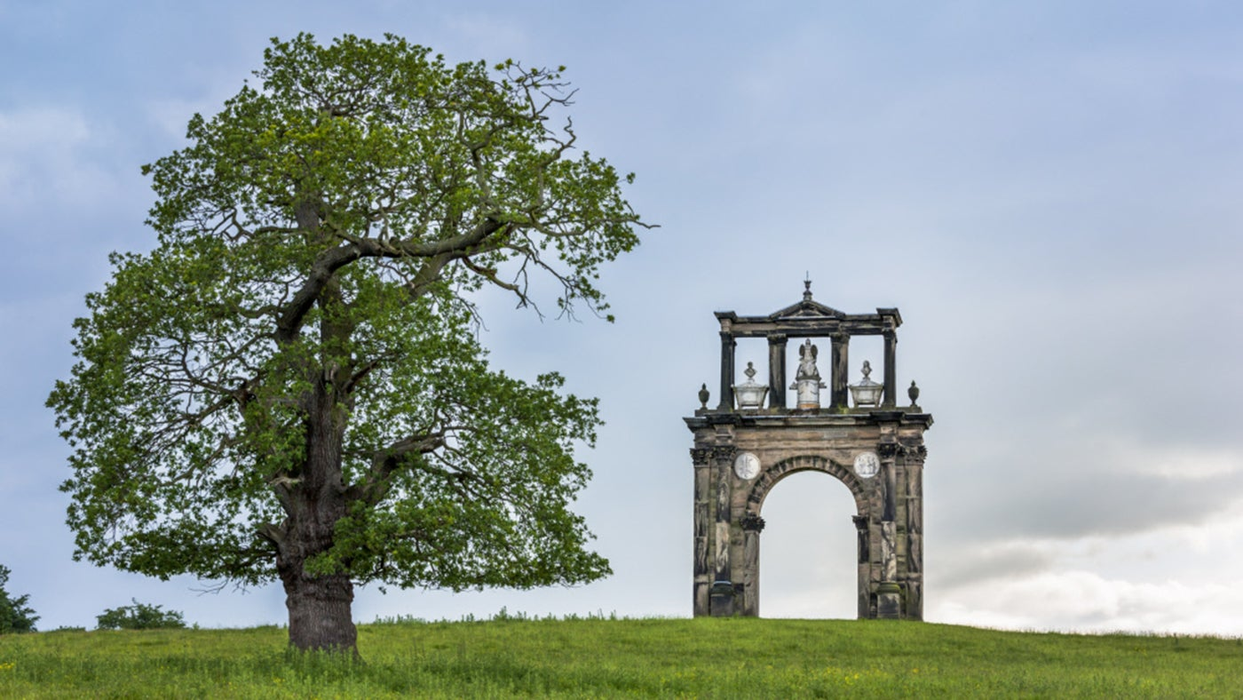 The Triumphal Arch on the skyline at Shugborough