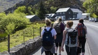 Walkers heading towards Ogwen Cottage