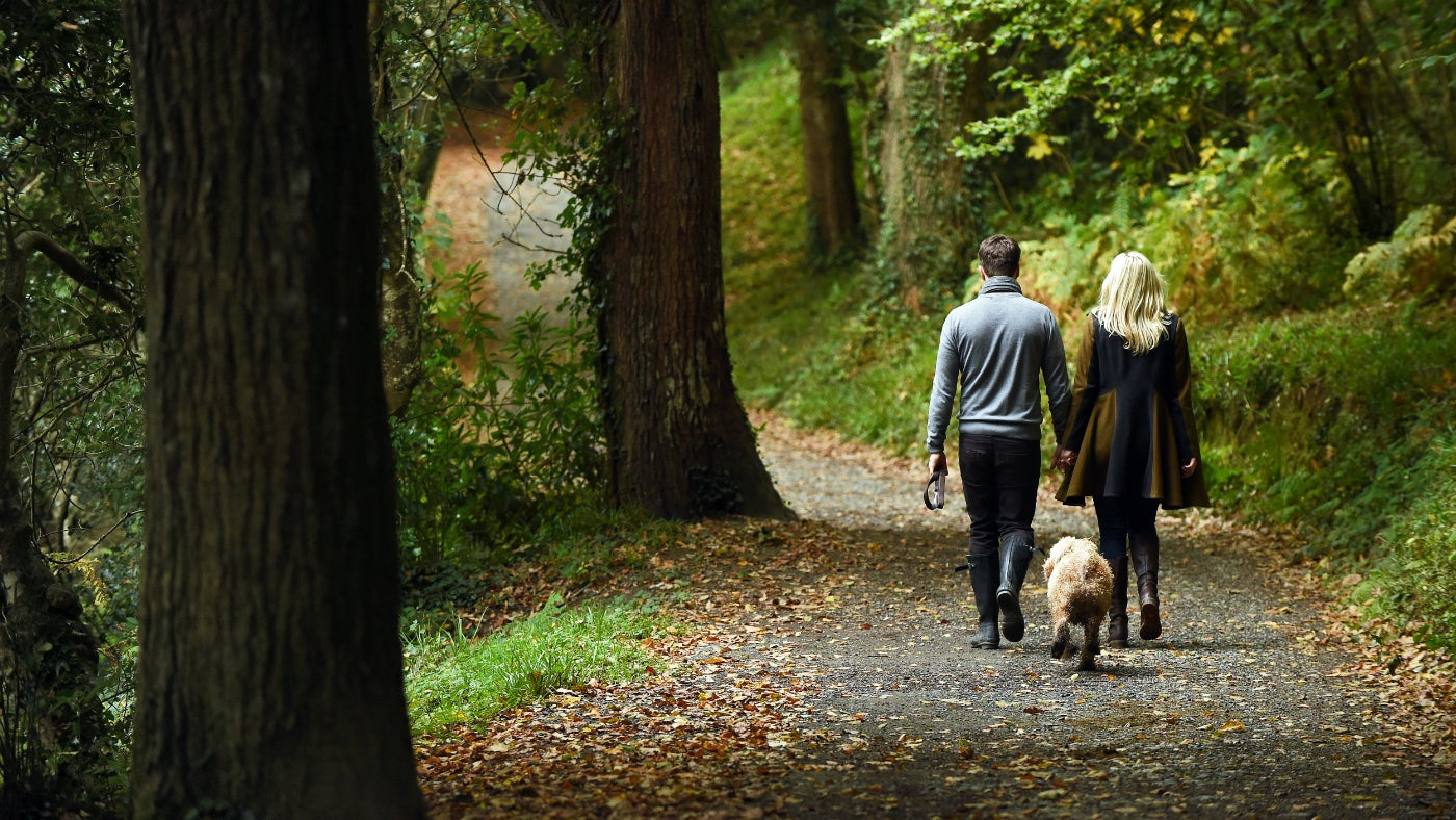 A couple walking their dog through the woods at Penrose