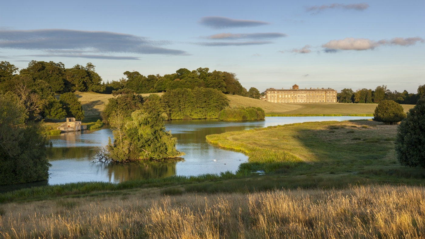 The house and upper pond at Petworth House and Park, West Sussex