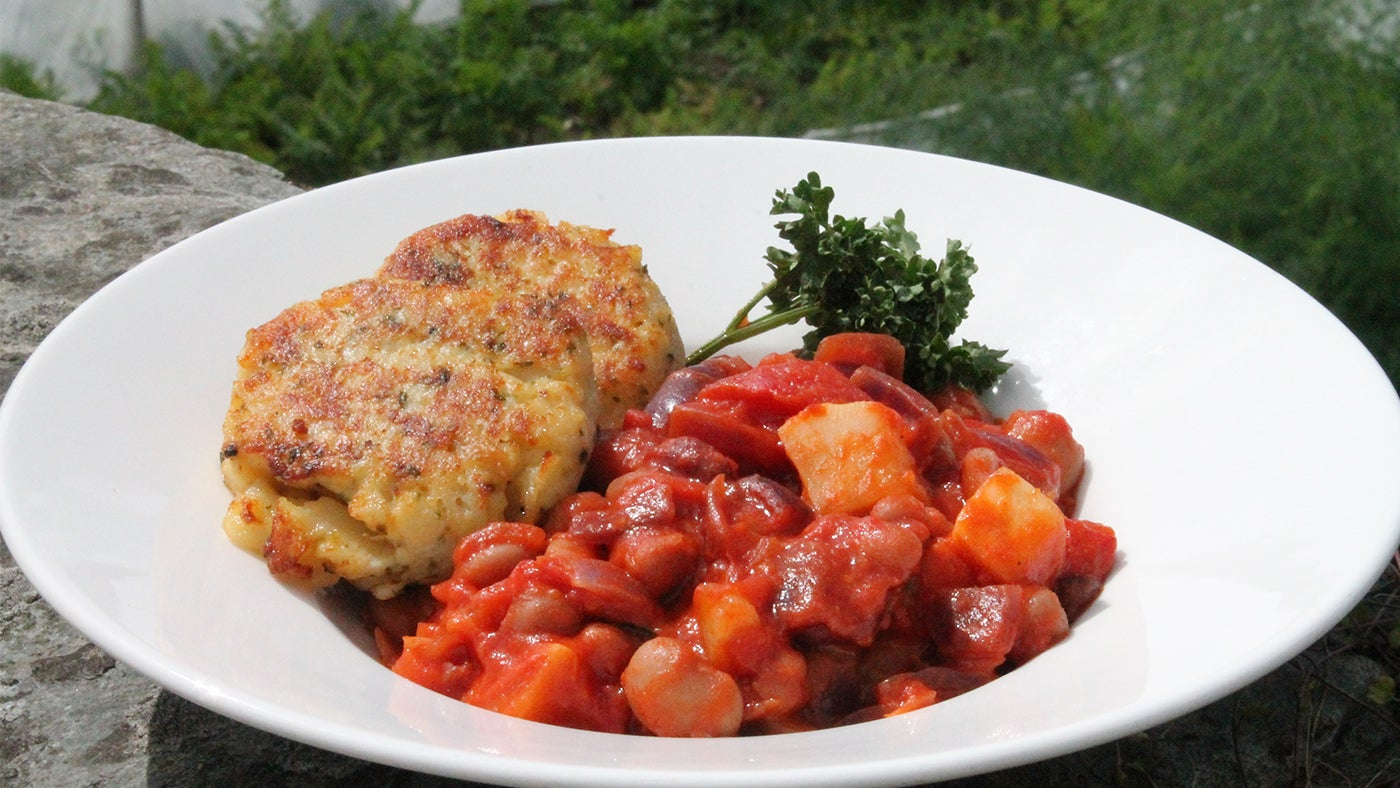 Mediterranean bean stew with potato cakes