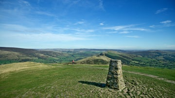 Mam Tor trig point, blue sky, landscape views