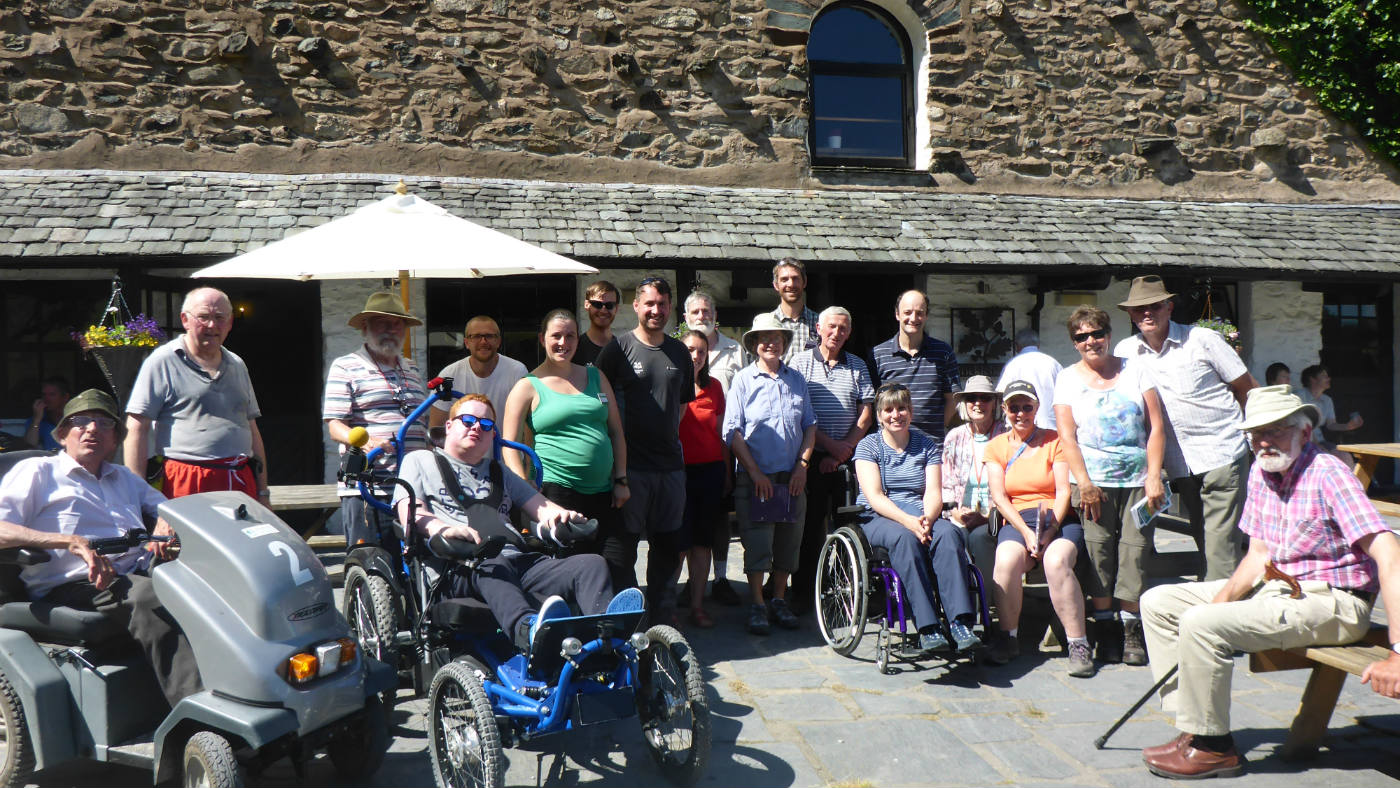 The Disabled Ramblers group outside Sticklebarn