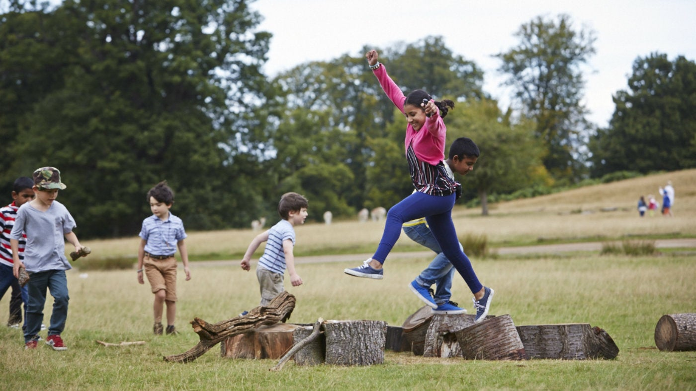 Play in the natural surroundings of Knole Park, Kent.