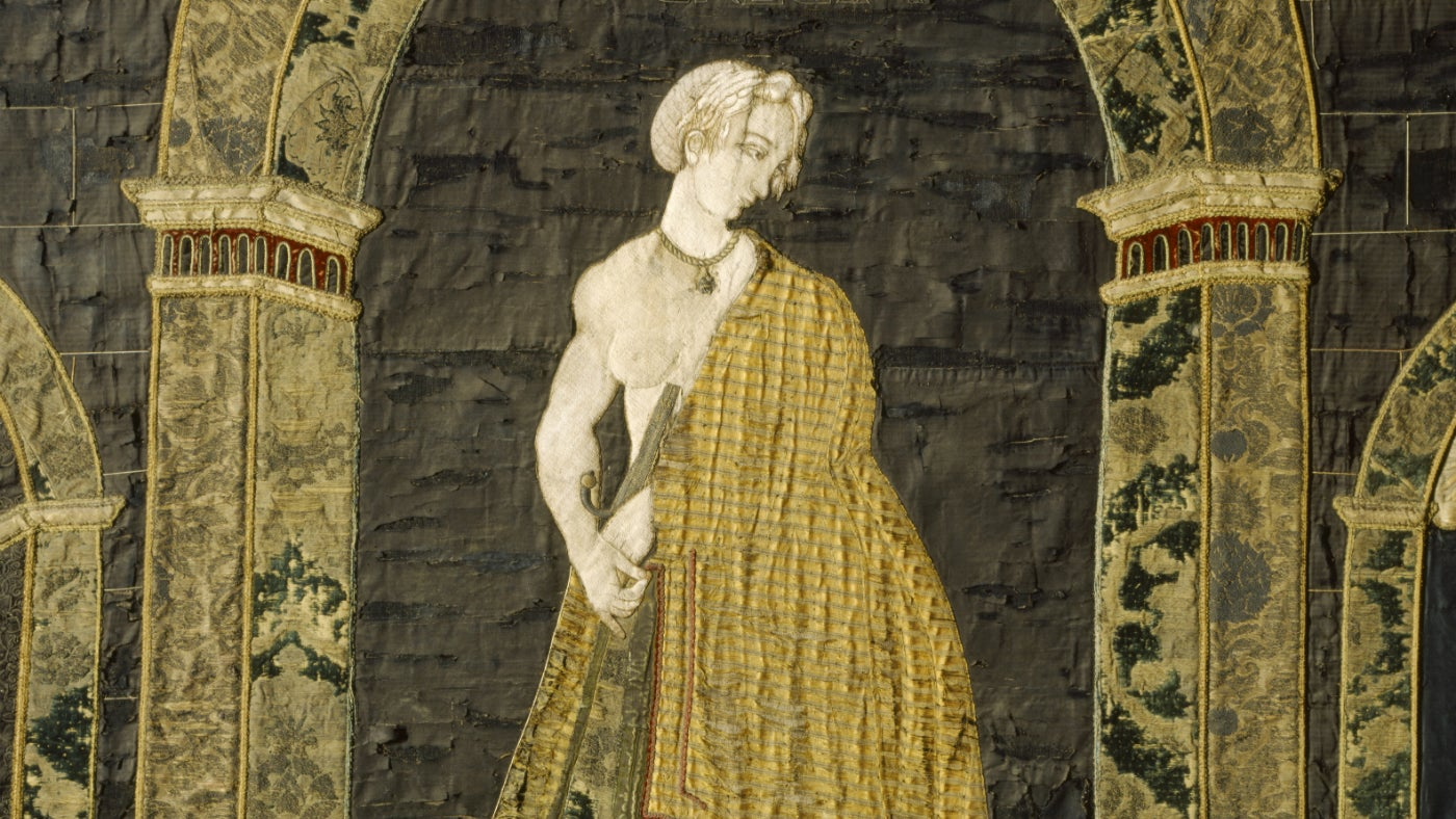 The embroidery 'Lucretia' before conservation