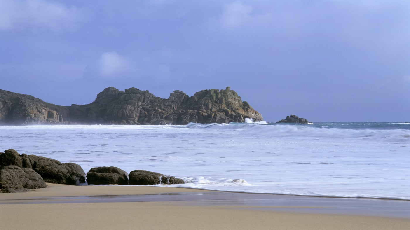 Logan Rock from Porthcurno Beach, Cornwall