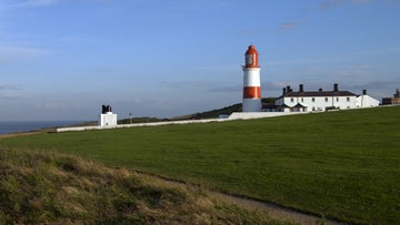 Souter Lighthouse overlooking the North Sea on a sunny day