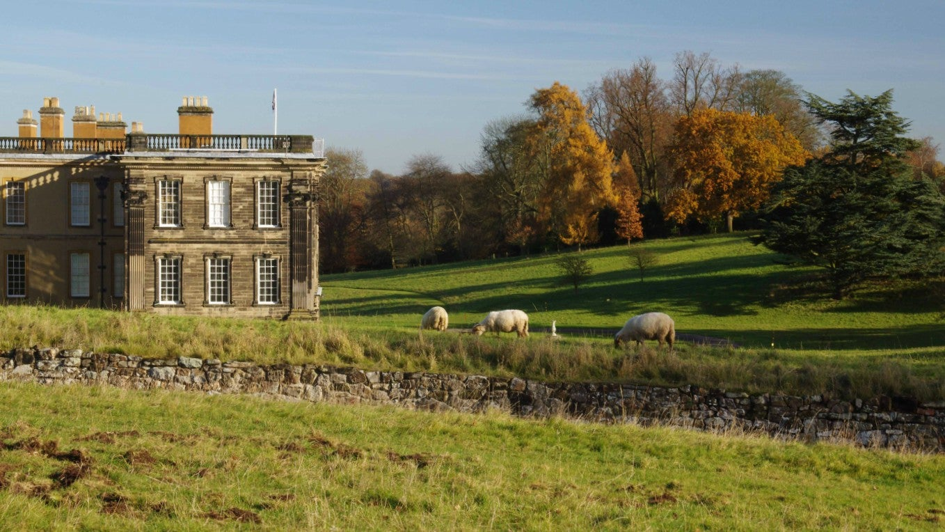 Calke Abbey, Midlands, the house and park in autumn