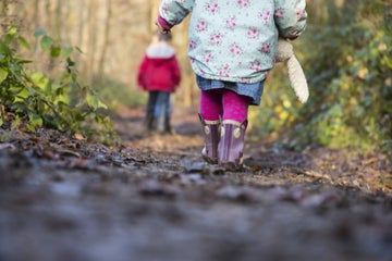 Children in wellies walking on a muddy path
