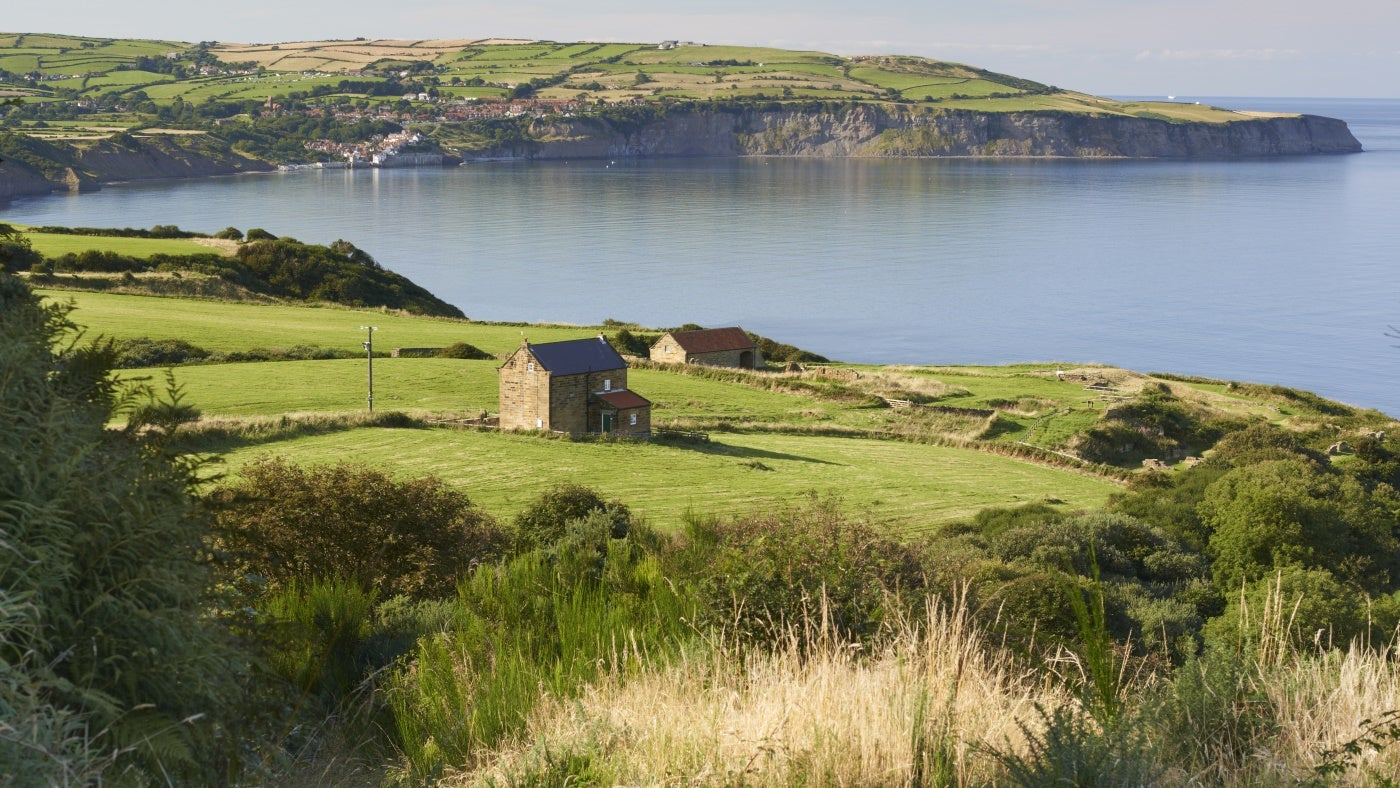 View of fields, cliffs and the sea looking towards Robin Hood's Bay from Ravenscar