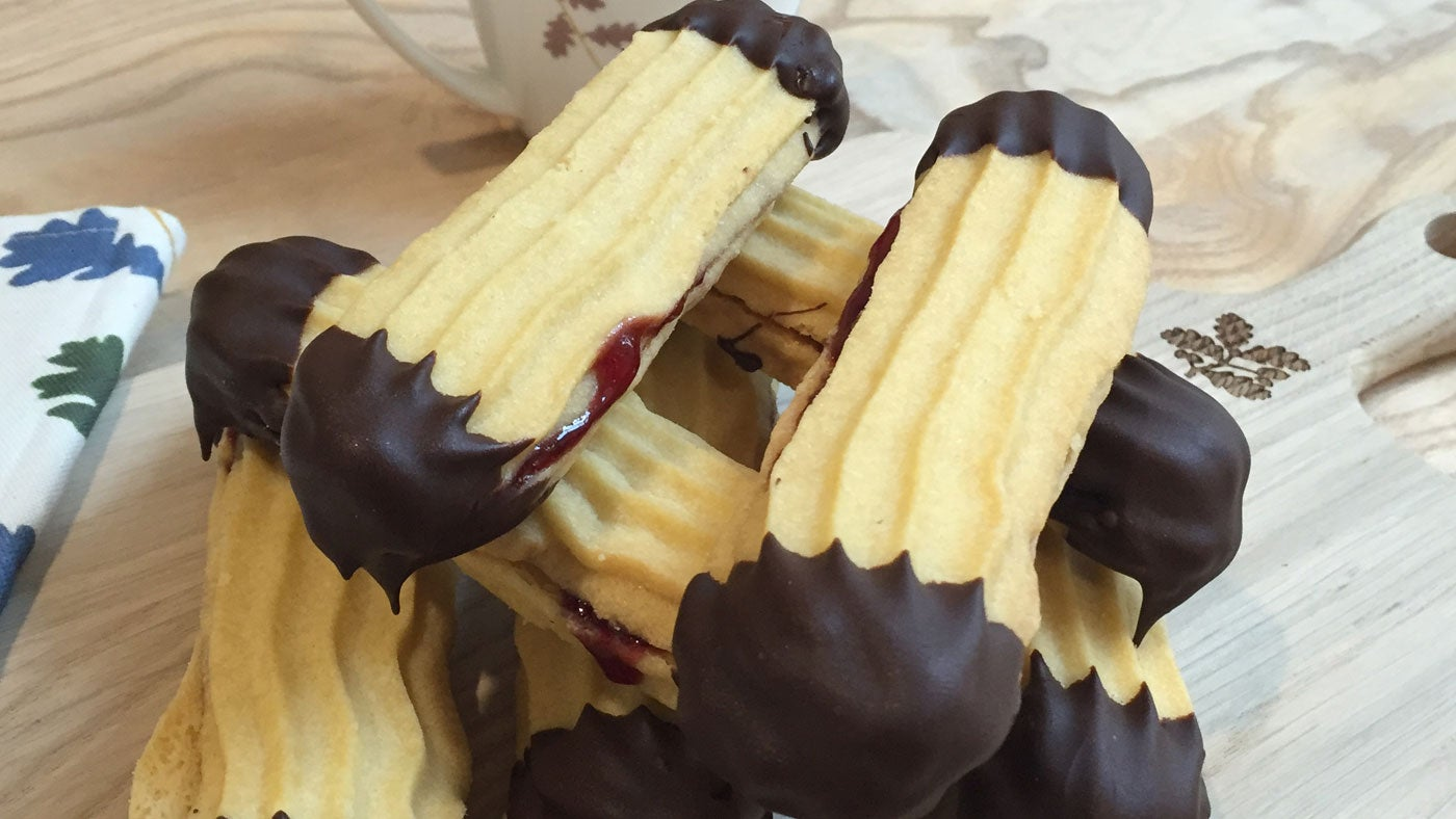 Viennese fingers dipped in chocolate