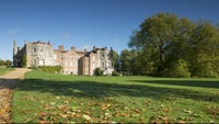 The house and great plane tree in autumn sunshine at Mottisfont, Hampshire