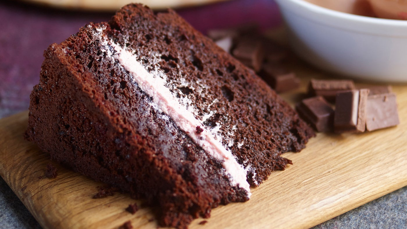 Slice of chocolate and beetroot cake