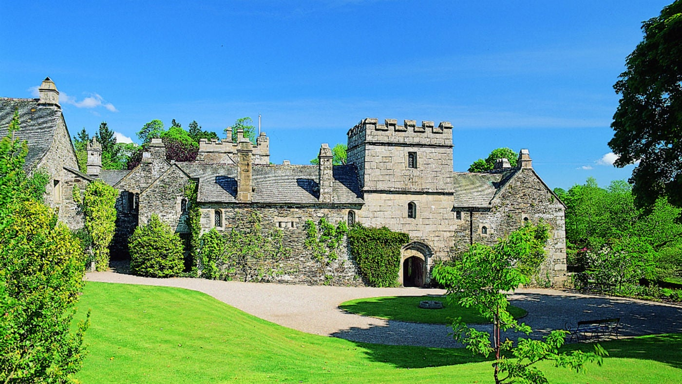 The exterior of Hall Court, Cotehele, St Dominick, Cornwall