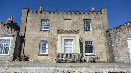 The grand exterior of Agents House, Brownsea Island, Poole, Dorset