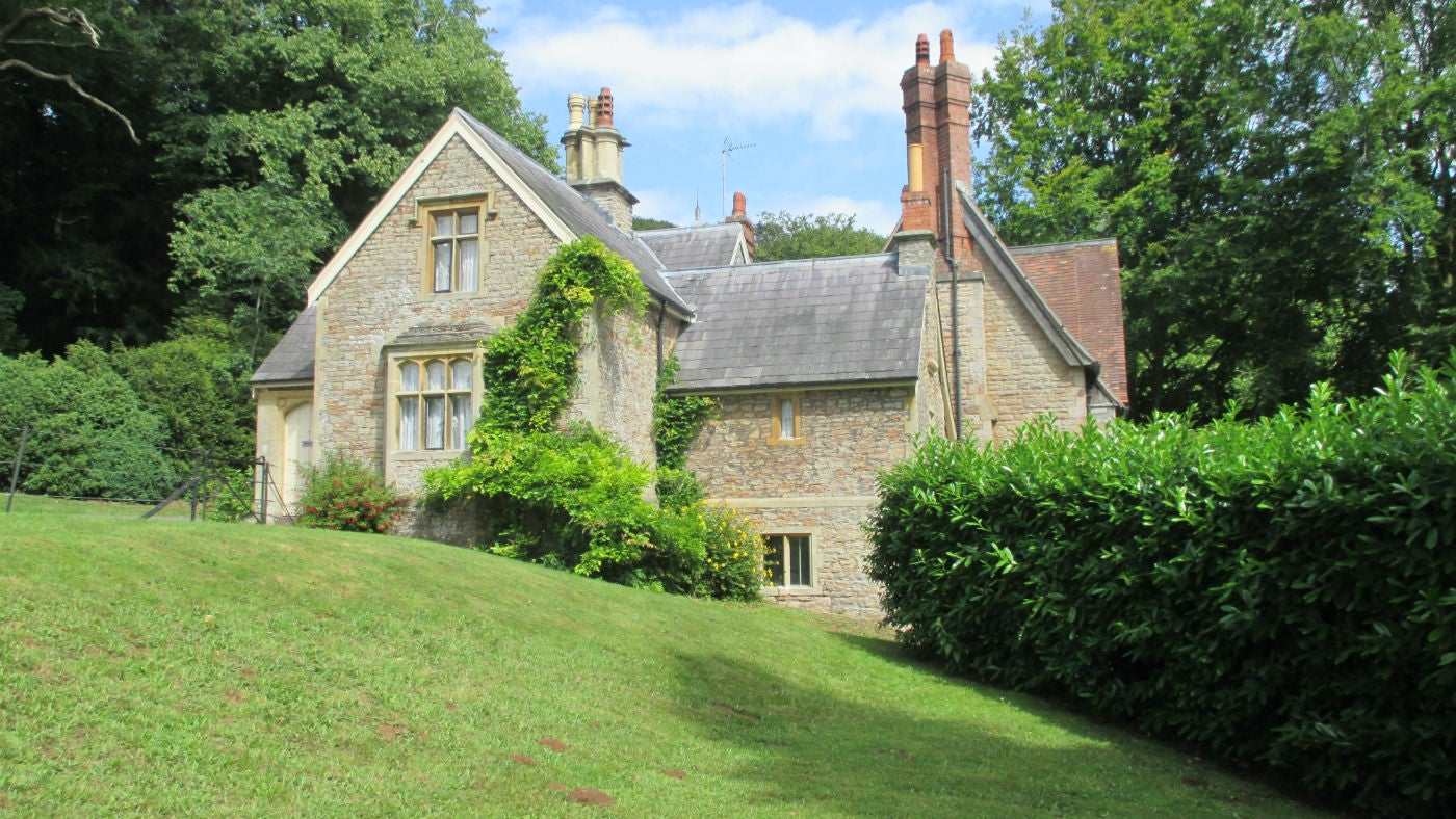 The pretty exterior of Chaplain's Lodge, Wraxall, Somerset