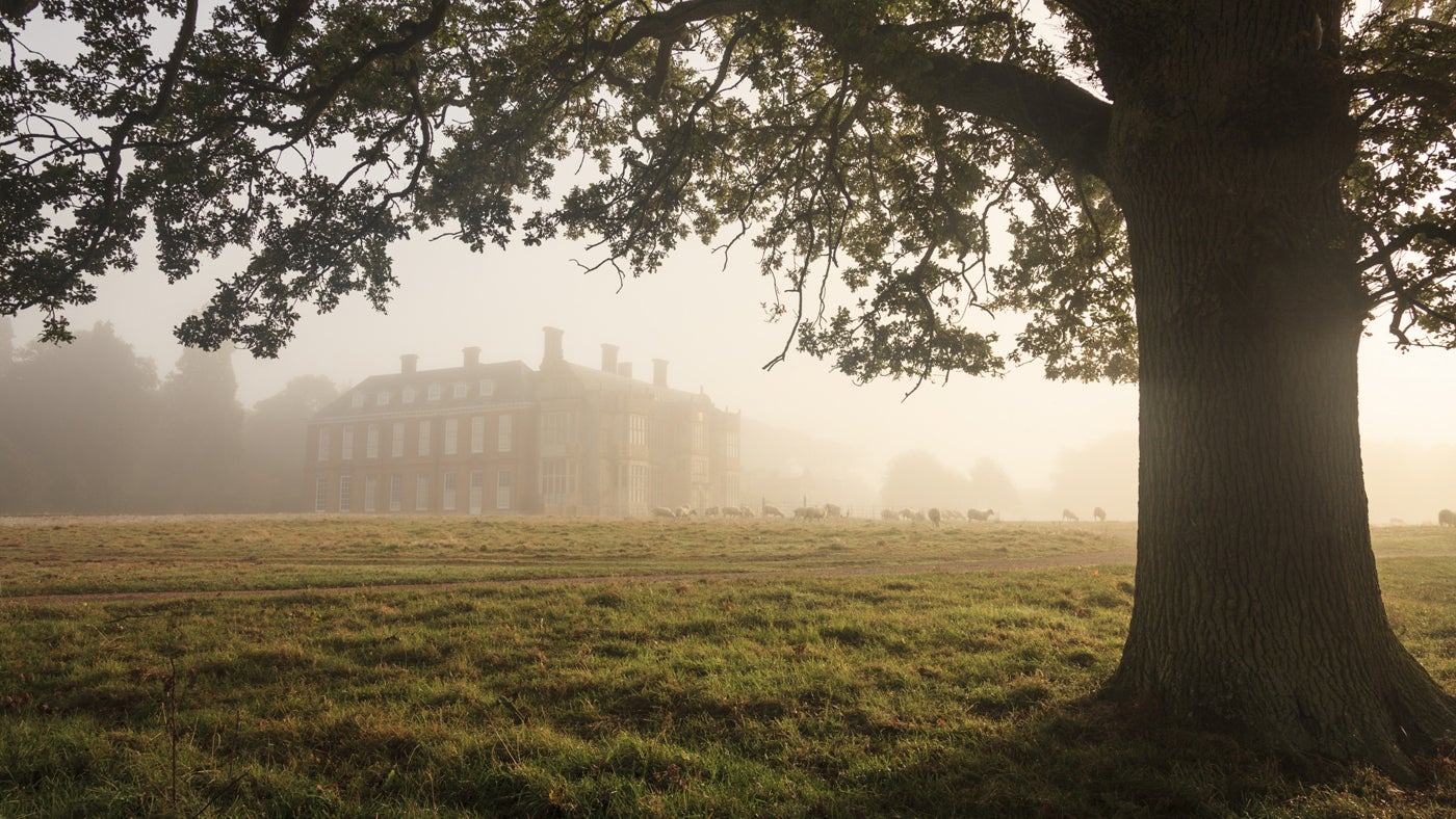 View of the Hall shrouded by thick fog. Felbrigg Hall, Norfolk.