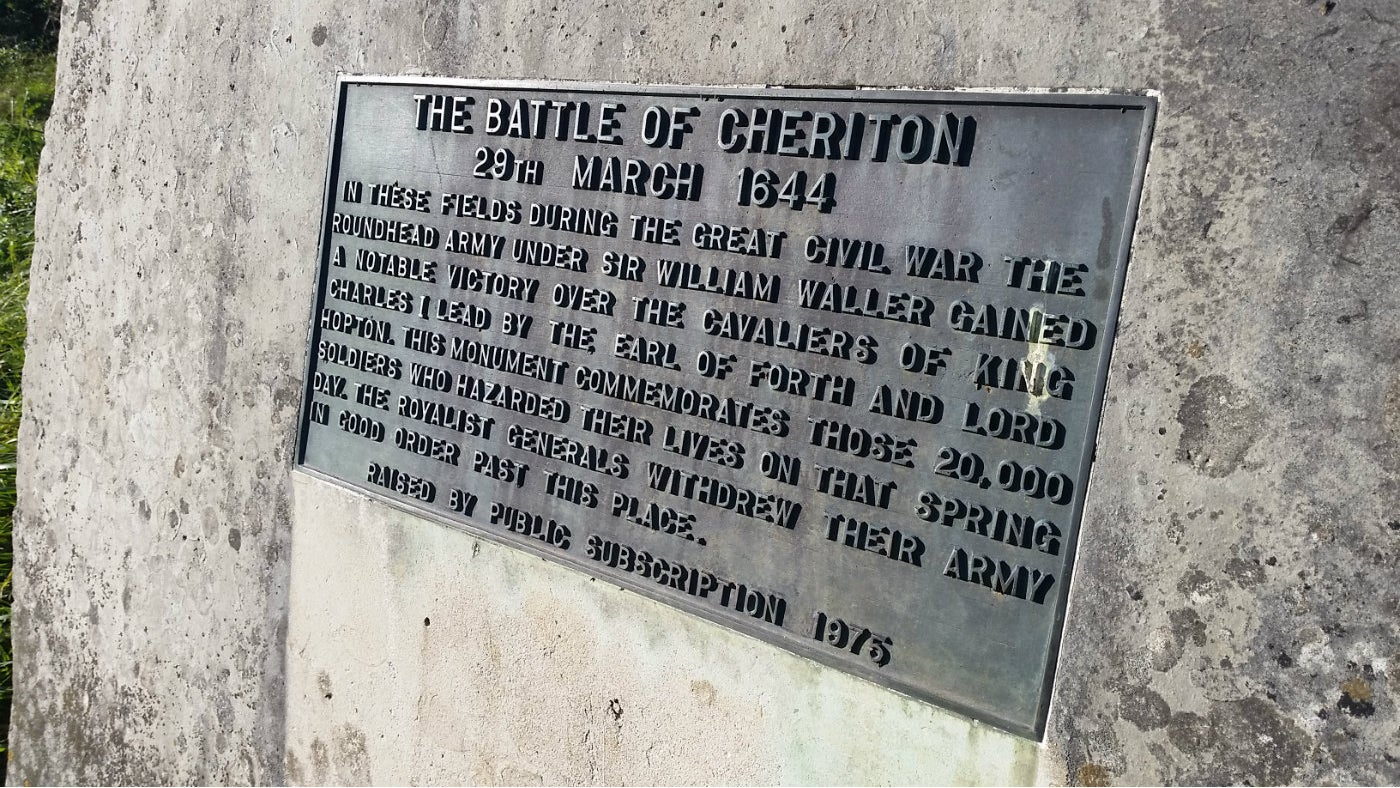 Close up of memorial plaque for the Battle of Cheriton, Hinton Ampner, Hampshire