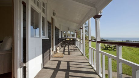 The wooden exterior of Seaview, Studland, Dorset