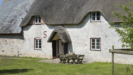 The exterior of Middlebere Farmhouse, Middlebere Farm, Isle of Purbeck, Wareham, Dorset