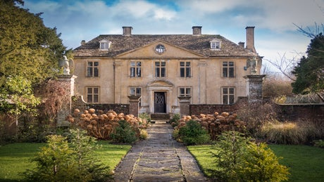 The grand exterior of Tintinhull House, Yeovil, Somerset