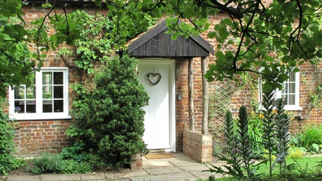 The exterior of Orchard Cottage, Gunby Hall, nr Skegness, Lincolnshire