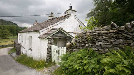 The whitewashed exterior of Low Hallgarth, nr Coniston, Lake District, Cumbria