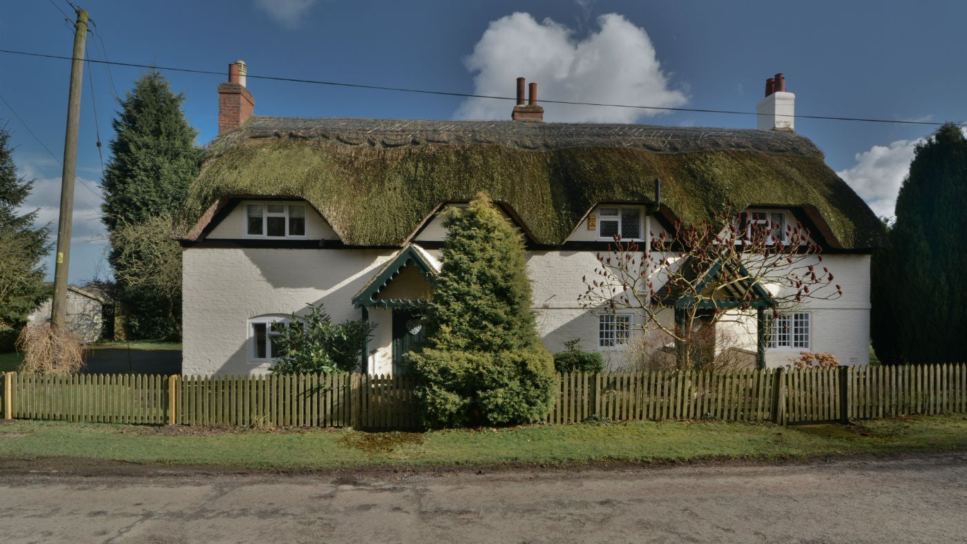 The exterior of Thatch Cottage, Calke Village, Ashby-de-la-Zouch, Leicestershire