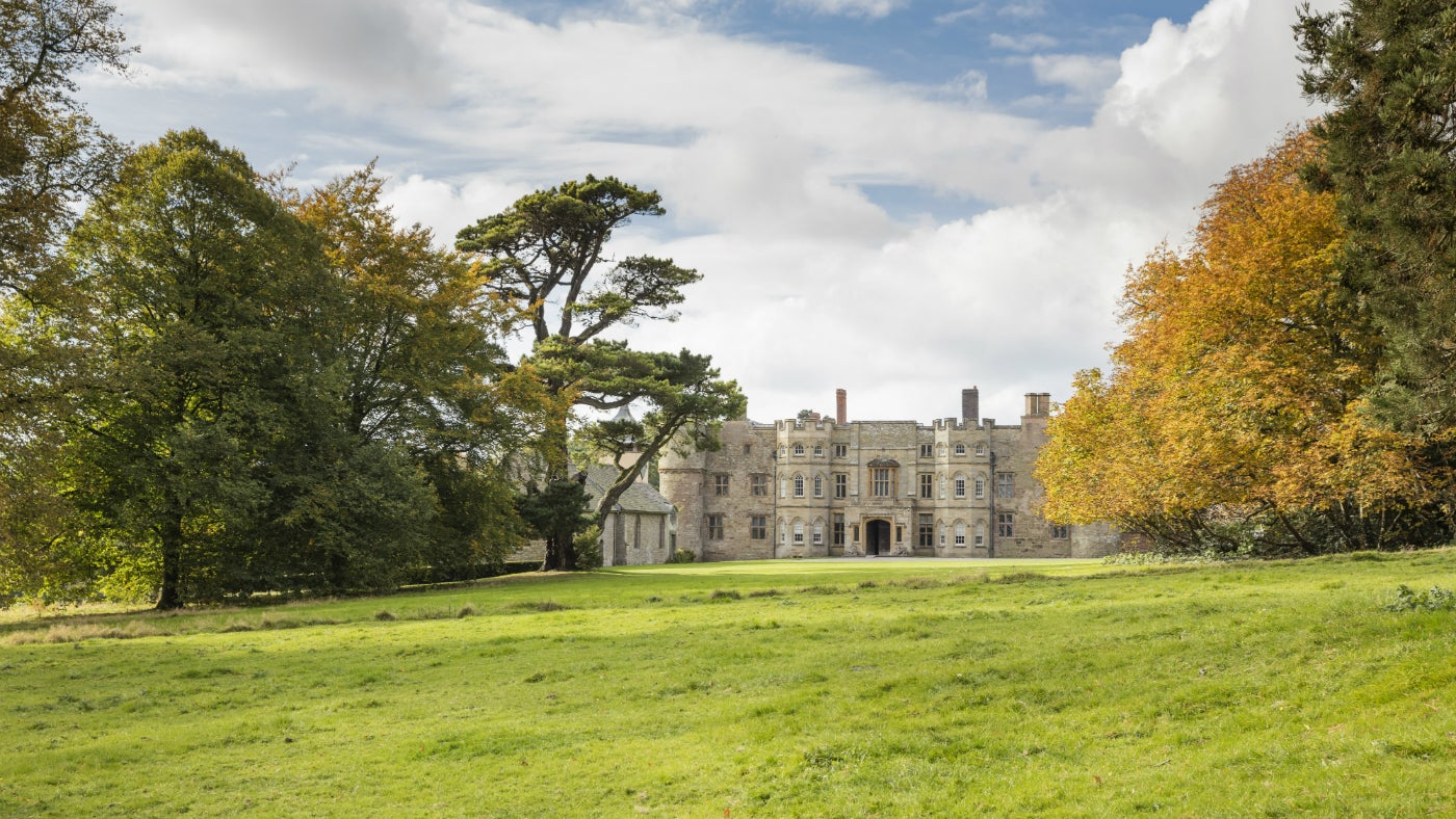 The exterior of Croft Castle in autumn