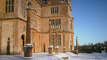 Snow on the east steps of Montacute House