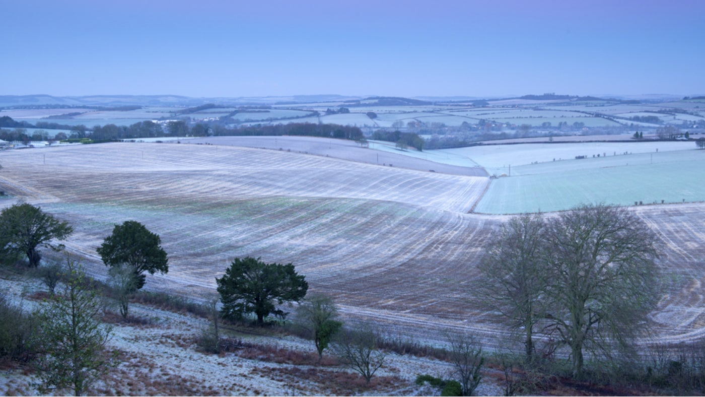 A frosty view from the top of Stockbridge Down, Hampshire, on the Mottisfont estate