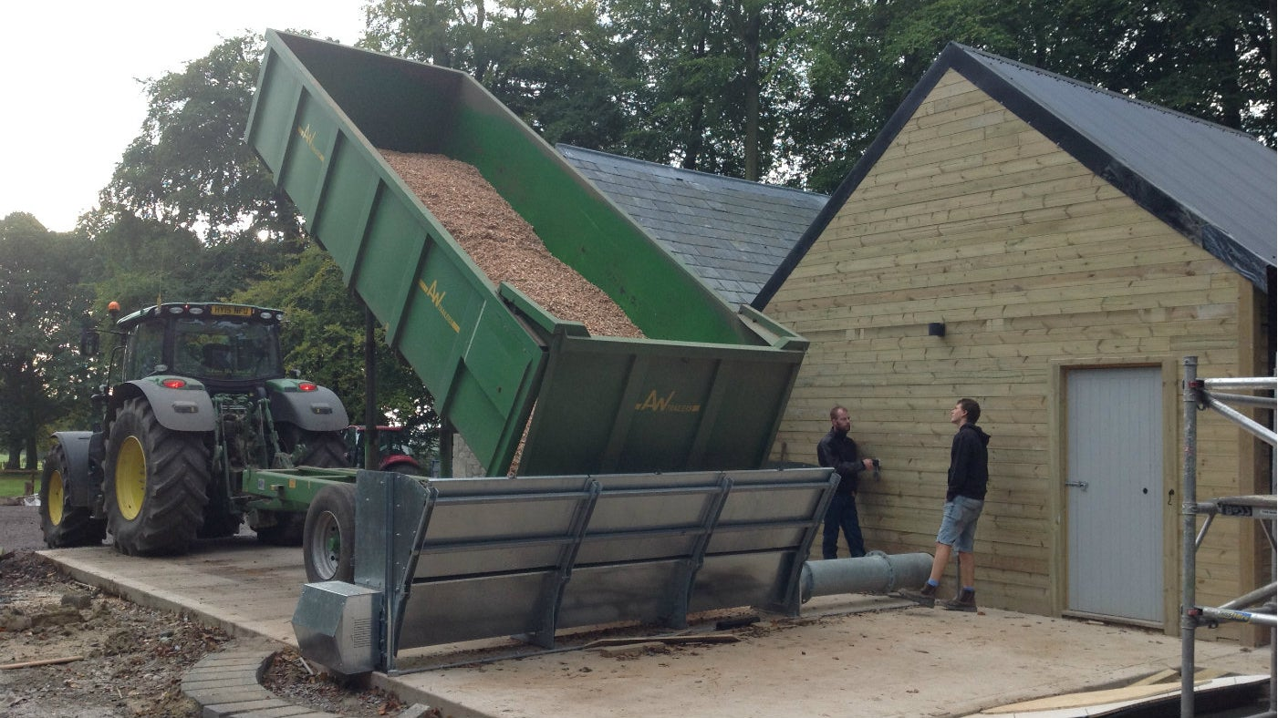 First big delivery of woodchip for the new Stourhead biomass boiler