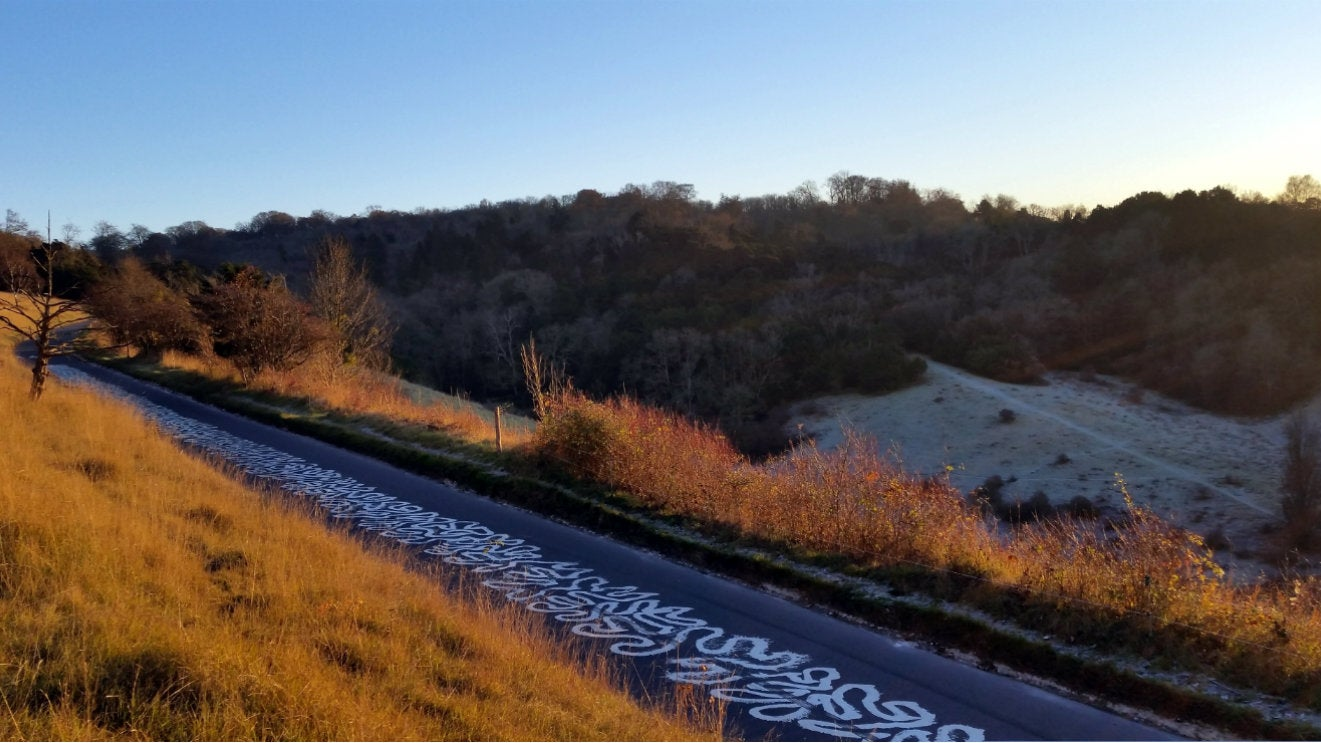 A view over Zig Zag Road Box Hill on a frosty day