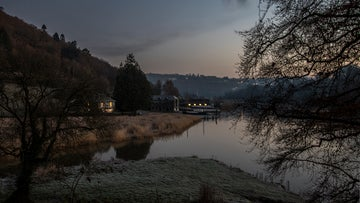 A frosty morning with sunrise on Cotehele Quay, Cornwall