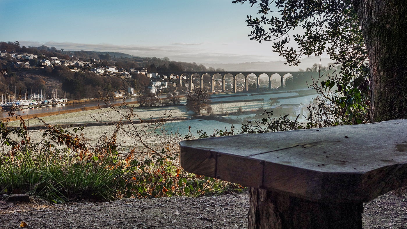 View of the river Tamar from the lookout at Cotehele on a winter's day