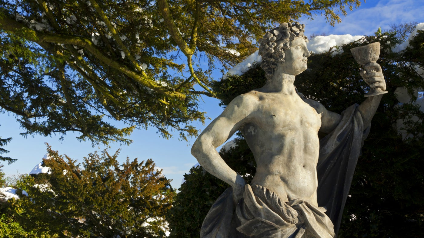 A garden statue at Hardwick basking in the winter sun