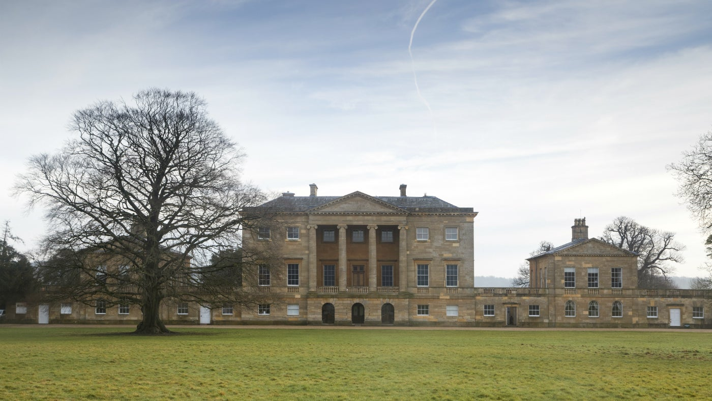 Front of the mansion at Basildon Park during winter