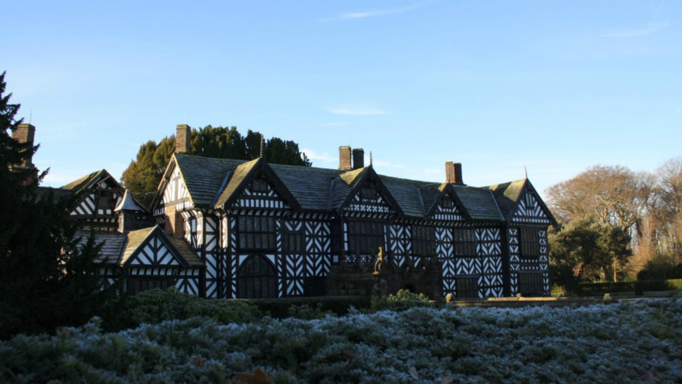 Speke Hall's North Range on a frosty morning