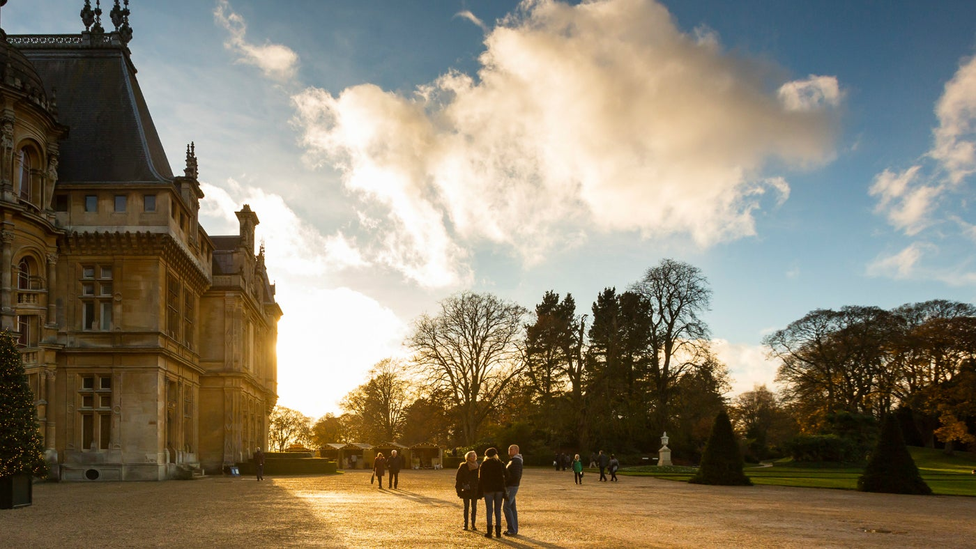 The North Front of Waddesdon Manor in the winter sunlight